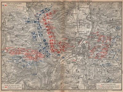 FRANCO-PRUSSIAN WAR. Battle of Mars-La-Tour Borny–Colombey 1870 Metz 1896 map