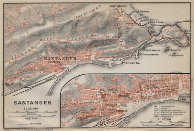 SANTANDER antique town city ciudad plan & environs. Spain España mapa 1913