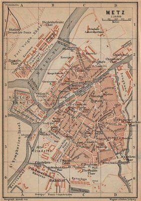 METZ antique town city stadtplan. Moselle carte. BAEDEKER 1903 old map
