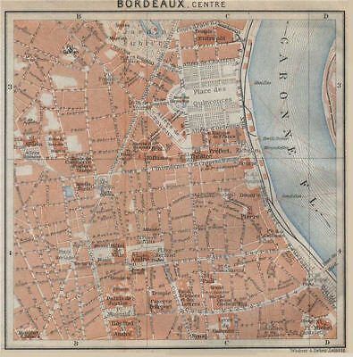 BORDEAUX antique town city plan de la ville. Gironde. France carte 1914 map