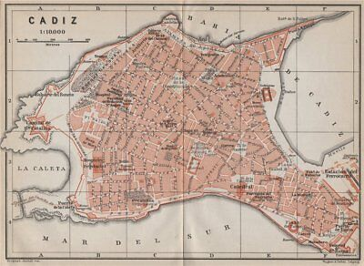 CADIZ antique town city ciudad plan. Spain España mapa. BAEDEKER 1913 old