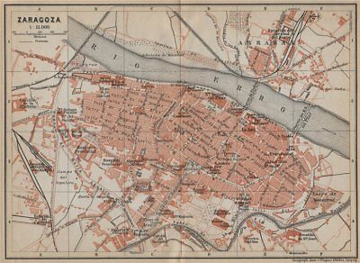 SARAGOSSA ZARAGOZA antique town city ciudad plan. Spain España mapa 1913
