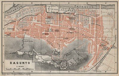 SAGUNTO antique town city ciudad plan. Spain España mapa. BAEDEKER 1913