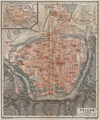 TOLEDO antique town city ciudad plan. Spain España mapa. BAEDEKER 1913 old