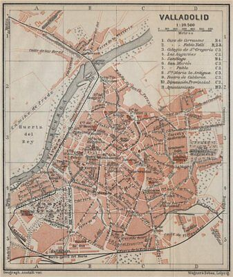 VALLADOLID antique town city ciudad plan. Spain España mapa. BAEDEKER 1913