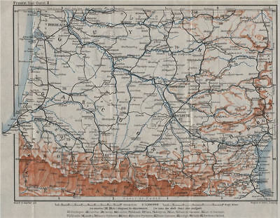SOUTH-WESTERN FRANCE. Guyenne Languedoc Gascogne Roussillon Bearn 1907 old map