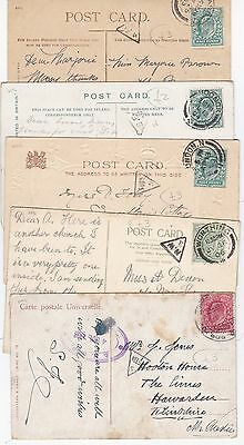 * 1903/08 5 PPCs WITH DIFFERENT GB TRIANGULAR MIS-SORT POSTMARKS - LONDON