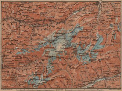 TÖDI DISTRICT. Glarus Alps Linththal Bifertenstock Claridenstock 1899 old map