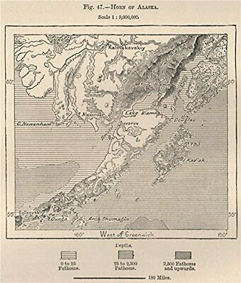 Horn of Alaska 1885 old antique vintage map plan chart