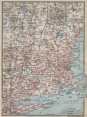 RAILWAY MAP OF THE NEW ENGLAND STATES. USA. BAEDEKER 1909 old antique
