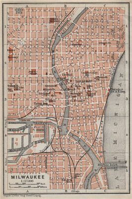 MILWAUKEE antique town city plan. Wisconsin. BAEDEKER 1909 old map