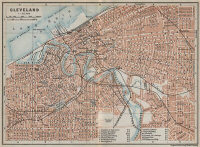 CLEVELAND antique town city plan. Ohio. BAEDEKER 1909 old map chart
