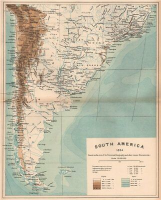 South America 1885 old antique vintage map plan chart