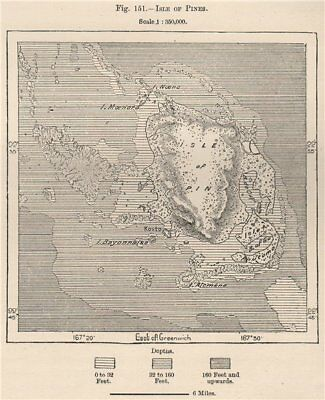 Isle of Pines. New Caledonia. Melanesia 1885 old antique map plan chart