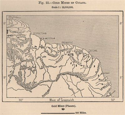 Gold Mines of Guyana. French Dutch British Guiana (Guyana)  1885 map