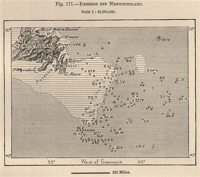 Icebergs off Newfoundland. Canada 1885 old antique vintage map plan chart