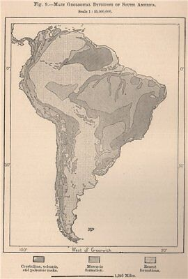 Main Geological divisions of South America 1885 old antique map plan chart
