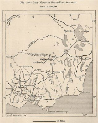 Gold mines of South-East Australia 1885 antique vintage map plan chart