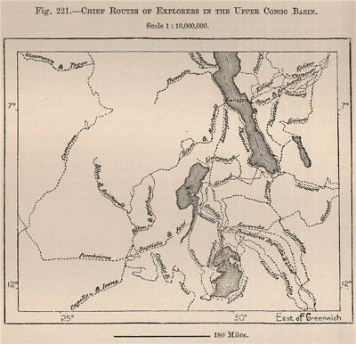 Chief routes of explorers in the upper Congo Basin. Africa 1885 old map