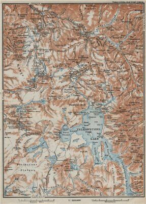 YELLOWSTONE NATIONAL PARK. Topo-map. Wyoming. BAEDEKER 1909 old antique
