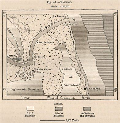 Tampico. Mexico 1885 old antique vintage map plan chart