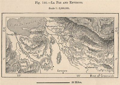 La Paz and environs. Bolivia 1885 old antique vintage map plan chart