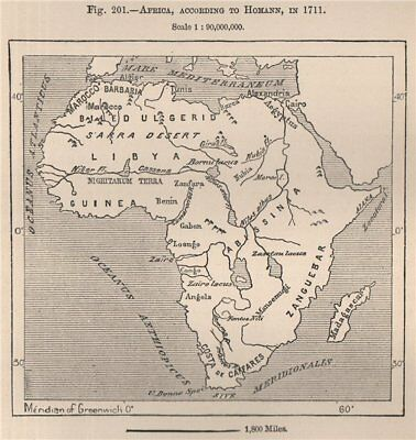Africa, according to Homann, in 1711. Congo Basin 1885 old antique map chart