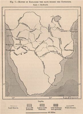 Routes of explorers who have crossed the continent. Africa. Angola 1885 map