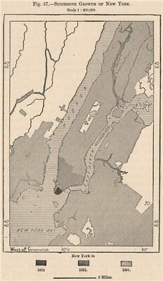 Successive growth of New York 1885 old antique vintage map plan chart