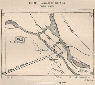 Barrage of the Nile. Egypt 1885 old antique vintage map plan chart