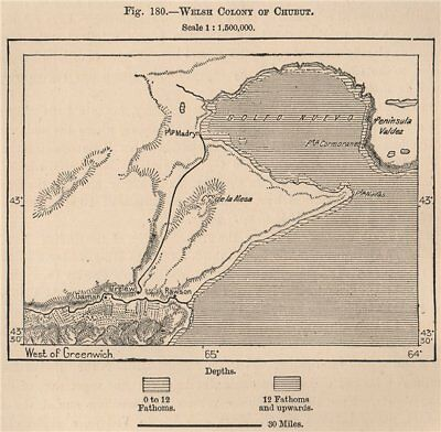 Welsh Colony of Chubut. Argentina. Rawson 1885 old antique map plan chart