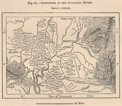 Confluence of the Guayaquil Rivers. Guayas Los Rios. Ecuador 1885 old map