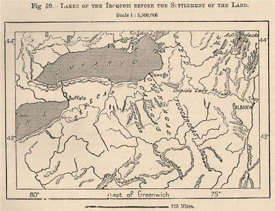 Lakes of the Iroquois before the settlement of the Land. New York 1885 old map