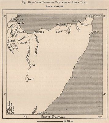 Chief routes of explorers in Somali Land. Somalia 1885 old antique map chart