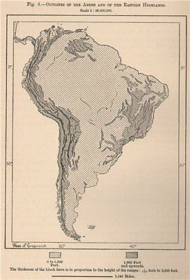 Outlines of the Andes and of the Eastern Highlands. South America 1885 old map