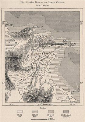 Old beds of The Lower Medjerda. Tunisia 1885 antique map plan chart