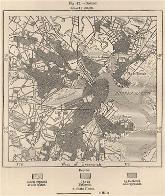 Boston. Massachusetts 1885 old antique vintage map plan chart