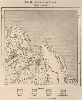 Mouth of the Oyapok/Oiapoque/Oyapock River. French Guiana/Brazil 1885 old map