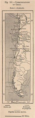 Communications of Chile. Chile 1885 old antique vintage map plan chart