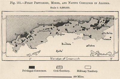 Fully privileged, mixed/civil & native communes in Algeria 1885 old map
