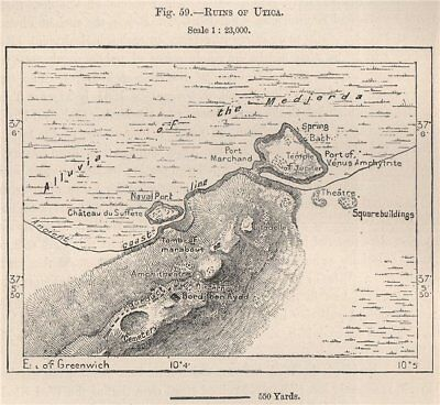 Carthage Tunisia 1885 old antique vintage map plan chart