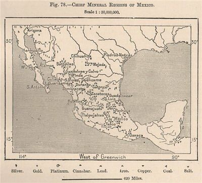 Chief Mineral regions of Mexico 1885 old antique vintage map plan chart