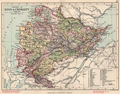 'Counties of Ross & Cromarty'. Ross-shire & Cromartyshire. BARTHOLOMEW 1891 map