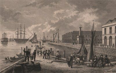 Sheerness, from the pier. Kent. BAYNES 1829 old antique vintage print picture
