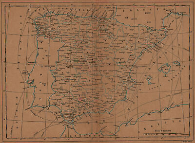 SPAIN ESPAÑA. Mapa antiguo 1905 old antique vintage plan chart