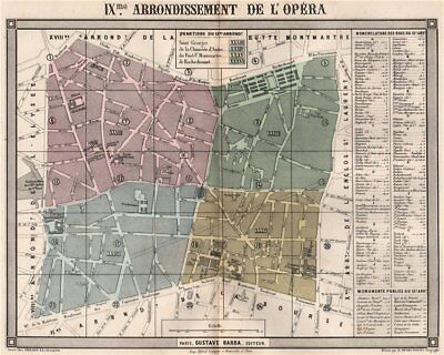 PARIS 9e 9th IXme arrondissement de l'Opéra. BARBA 1860 old antique map chart