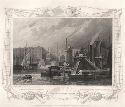 'St. Catherine Docks'. London. Decorative view by William TOMBLESON 1835 print