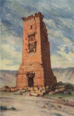 'A mortuary tower, Palmyra' by Margaret Thomas. Syria 1908 old antique print