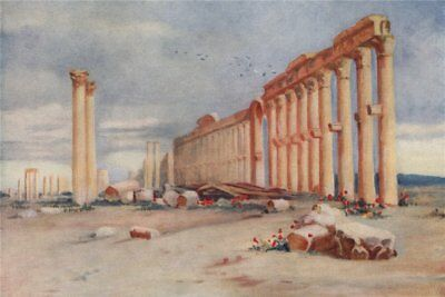 Colonnade, Palmyra & Turkish Castle in the distance. Margaret Thomas. Syria 1908