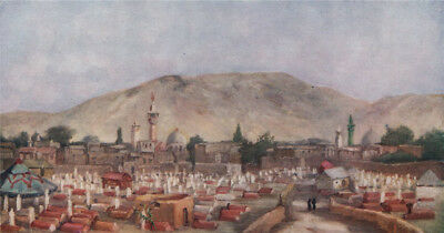 'Moslem cemetery in the Meidan, Damascus' by Margaret Thomas. Syria 1908 print
